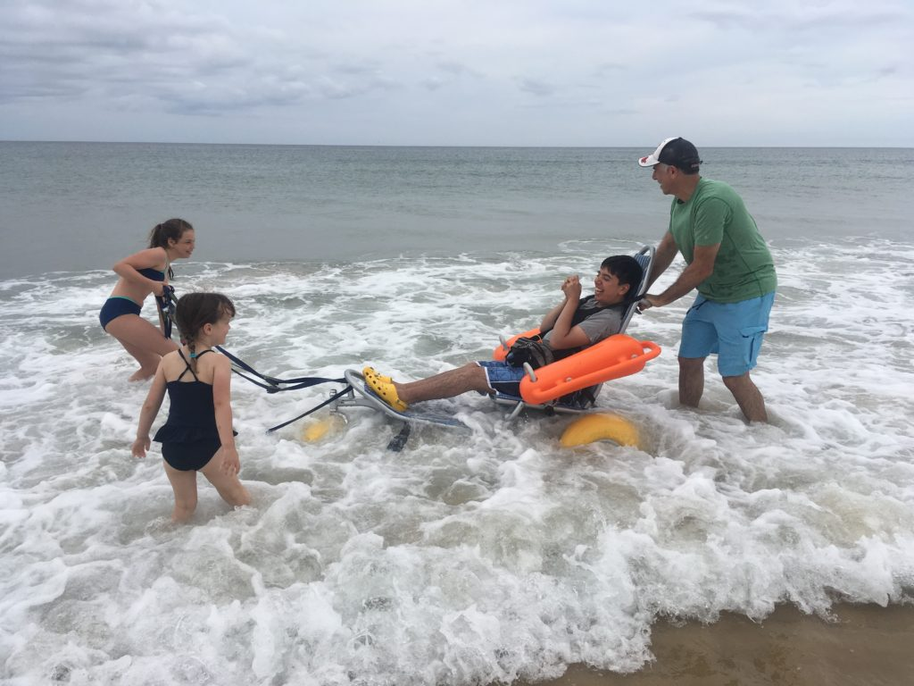 beach wheelchair in use from Smile Mass